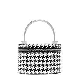 METAL TOP HANDLE HOUNDSTOOTH PRINT ROUND STRUCTURED BAG