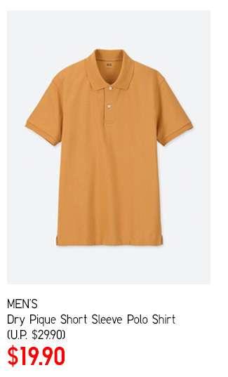 Men's Dry Pique Short Sleeve Polo Shirt at $19.90