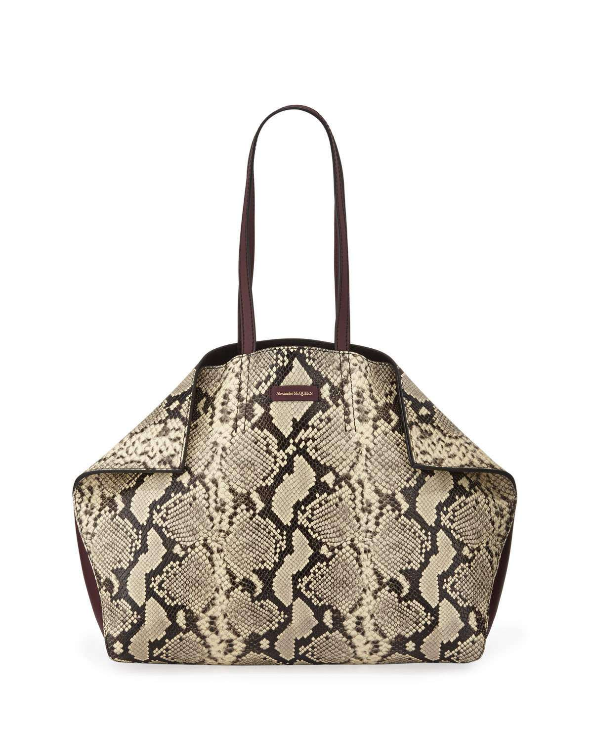 Large Butterfly Snake-Print Leather Tote Bag