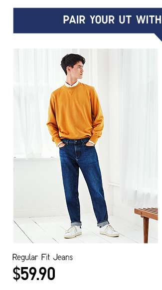 Pair your UT with Regular Fit Jeans at $59.90