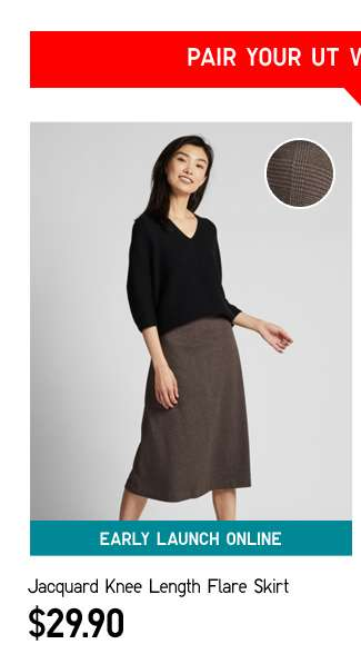 Pair your UT with Jacquard Knee Length Flare Skirt at $29.90