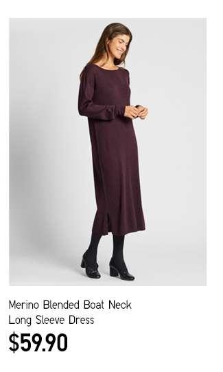 Women's Merino Blended Boat Neck Long Sleeve Dress at $39.90
