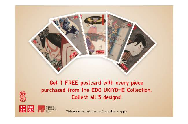 Get 1 FREE postcard with every piece purchased from the EDO UKIYIO-E Collection. Collet all 5 designs!