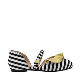 GIRLS' BLACK AND WHITE STRIPE MARY JANES