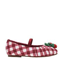 GIRLS' CHERRY EMBELLISHED CHECK PRINT MARY JANES