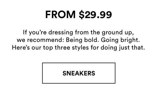 White Sneakers $29.99. Shop Now.