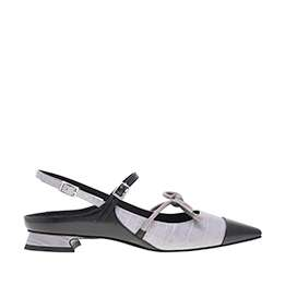 CROC-EFFECT MARY JANE BOW FLATS