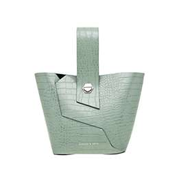 CROC-EFFECT WRISTLET HANDLE BUCKET BAG