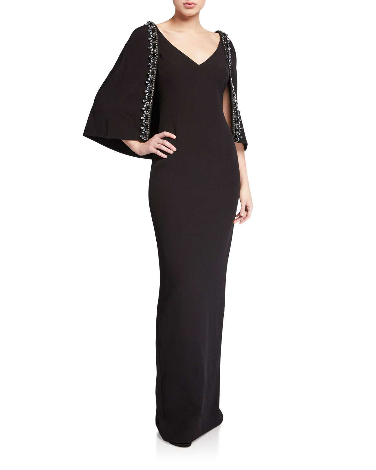 V-Neck Cape Gown with Beaded Trim