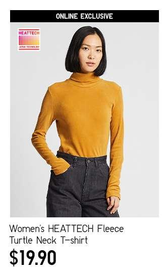 Women's HEATTECH Fleece Turtle Neck Long Sleeve T-shirt at $19.90