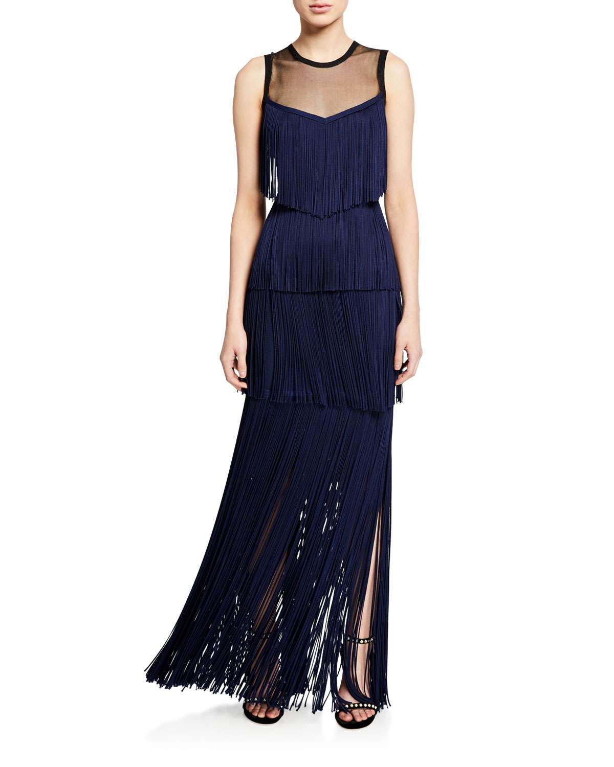 Illusion Neck Fringe Gown