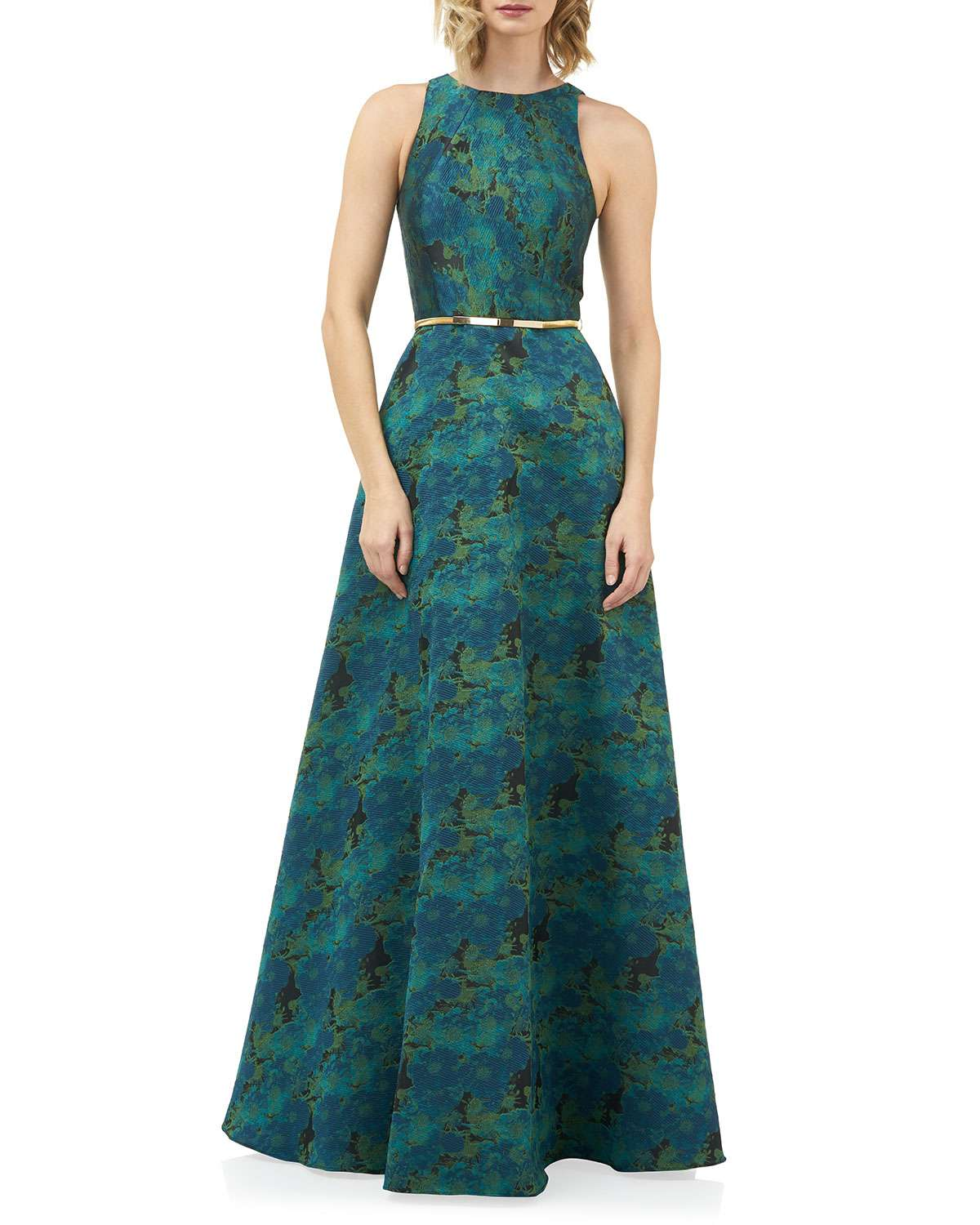 Charlotte Jewel-Neck Sleeveless Jacquard Gown with Belt