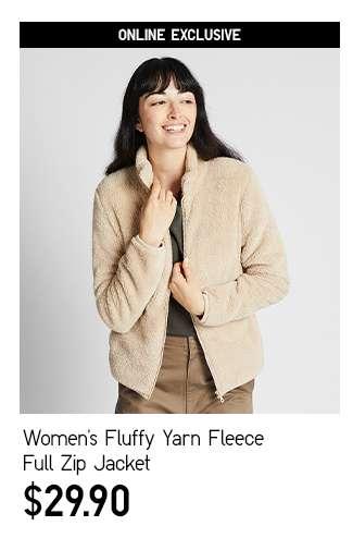 Women's Fluffy Yarn Fleece Full Zip Long Sleeve Jacket at $29.90