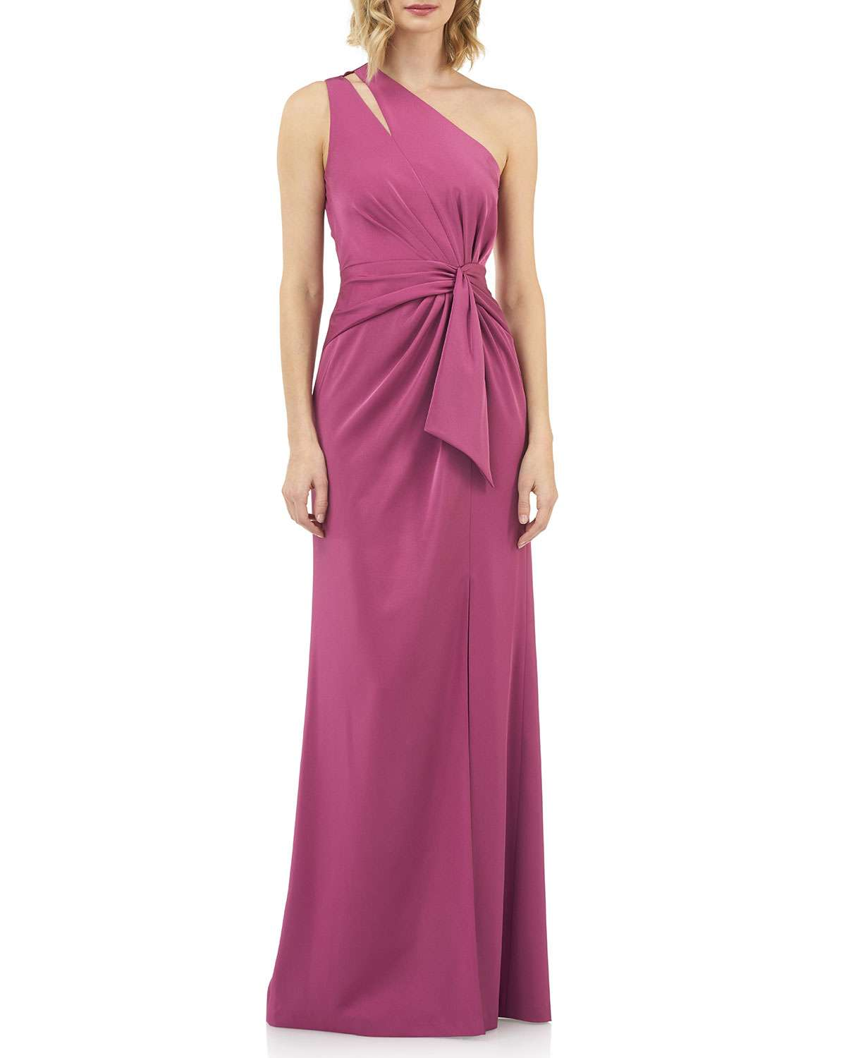 Emma Draped One-Shoulder Stretch Faille Gown w/ Twist Detail