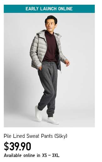Men's Pile Lined Sweat Pants (Silky) at $39.90