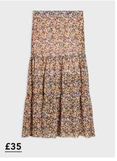 Nude Sheer Floral Print Skirt