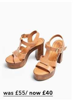 SABRINA Tan Leather Platform Sandals