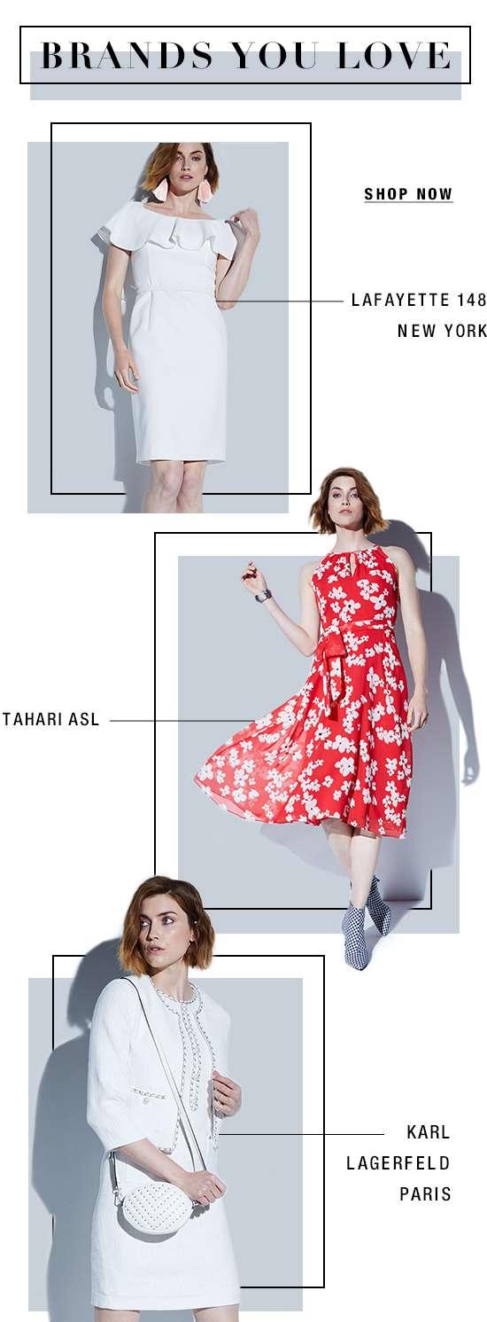 Women's apparel from Tahari, Lafayette, and Karl Lagerfeld
