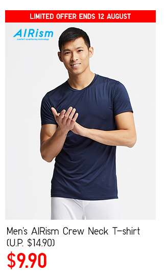 Men's AIRism Crew Neck T-shirt at $9.90