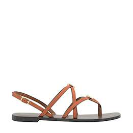 CRISS CROSS METAL ACCENT TEXTURED STRAPPY SANDALS