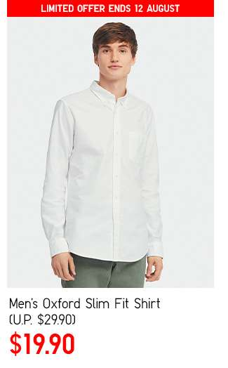Men's Oxford Slim Fit Shirt at $19.90