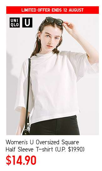 Women's U Oversized Square Half Sleeve T-shirt at $14.90