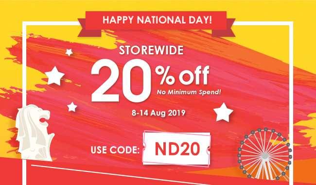 20% OFF Storewide | No Minimum Spend | 8-14 Aug 2019 | Use Code: ND20