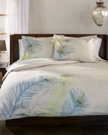 Superior Peacock Embroidered Duvet Cover Set; California King
