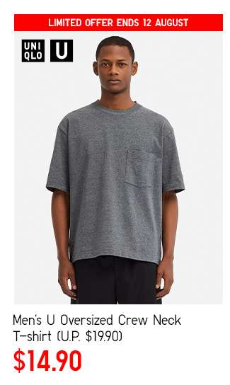 Men's U Oversized Crew Neck Short Sleeve T-shirt at $14.90