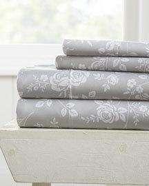 ienjoy Home Rose Gray 4-Piece Bed Sheet Set; California King