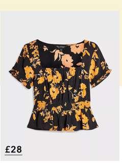 Black Floral Print Gypsy Blouse