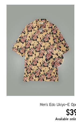 Men's Edo Ukiyo-E Open Collar Printed Shirts at $39.90