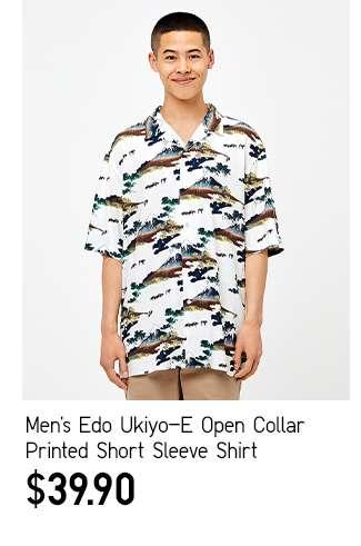 Men's Edo Ukiyo-E Open Collar Printed Short Sleeve Shirt at $39.90