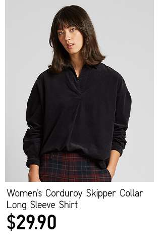 Women's Corduroy Skipper Collar Long Sleeve Shirt at $29.90