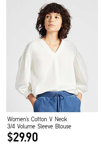 Women's Cotton V Neck 3/4 Volume Sleeve Blouse at $29.90