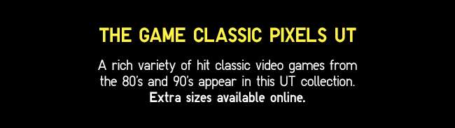 A rich variety of hit classic video games from the 80's and 90's appear in this UT collection. Extra sizes available online.