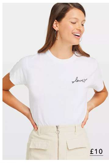 White Love Arrow Print T-Shirt