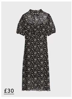 Black Daisy Print Mesh Ruched Midi Dress