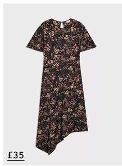 Black Floral Asymmetric Hem Midi Dress