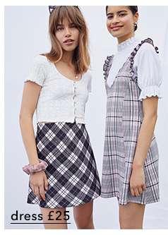 Pale Pink Check Print Pinafore Dress