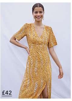 Tan Blurred Cheetah Print Midi Tea Dress