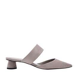 TEXTURED THICK STRAP CYLINDRICAL HEEL MULES