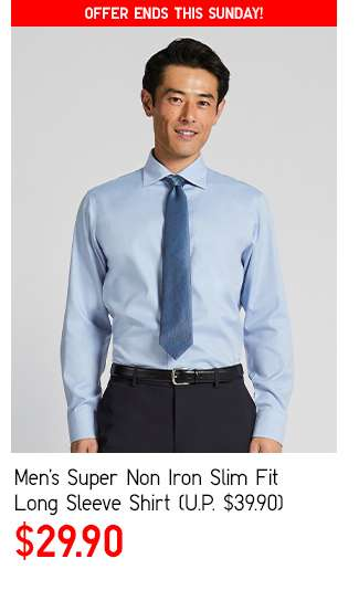 Men's Super Non Iron Slim Fit Long Sleeve Shirt at $29.90