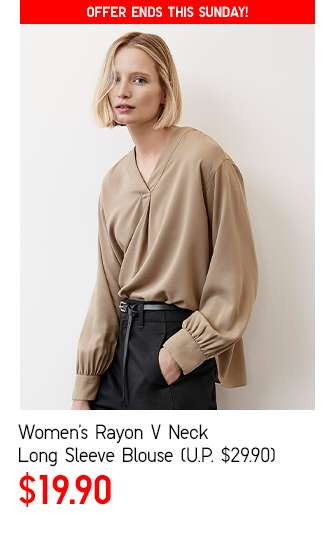 Women's Rayon V Neck Long Sleeve Blouse at $19.90