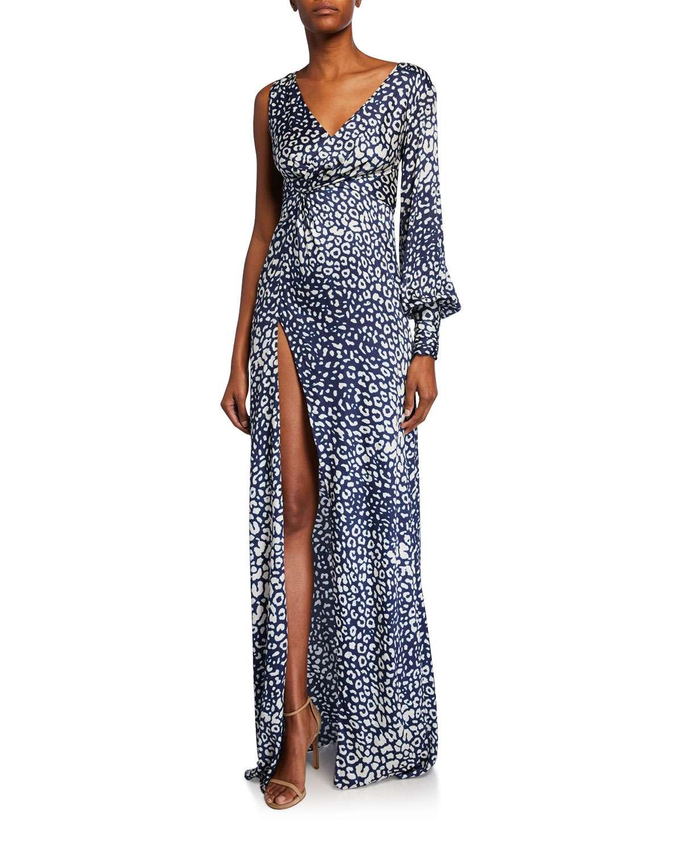 Kasadee One-Shoulder High-Slit Leopard-Print Gown