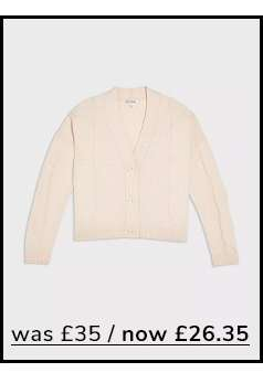 Cream Recycled Yarn Cable Knitted Cardigan