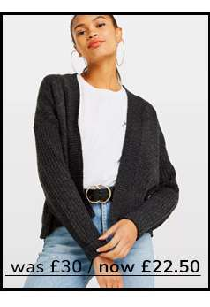Short Knitted Boxy Cardigan In Charcoal