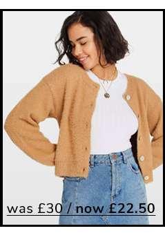 PETITE Camel Eyelash Knitted Cardigan