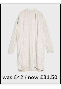 Nude Cable Longline Knitted Cardigan