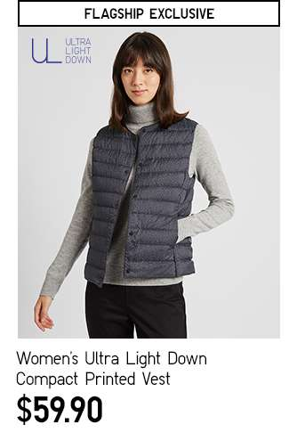Women's Ultra Light Down Compact Printed Vest at $59.90